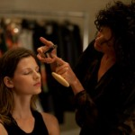 Julie Morgan applying Jouer Cosmetics to the J. Mendel Models
