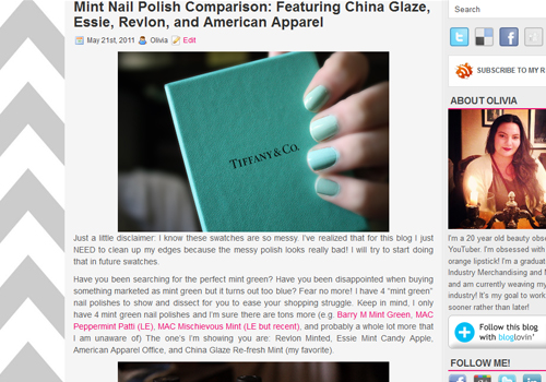6 Mint Nail Polish Comparison China Glaze Essie Revlon American Apparel