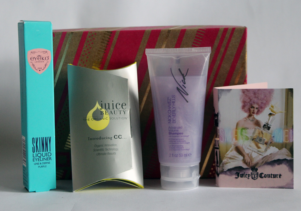 December Birchbox Review- Eyeko,Juice Beauty, Nick Chavez, Juicy Couture
