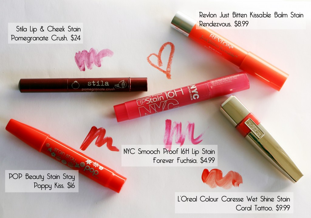 Spring Lip Stain Picks- Stila Pomegranate Crush, POP Beauty Poppy Kiss, NYC Forever Fuchsia, L'Oreal Coral Tattoo, Revlon Rendezvous