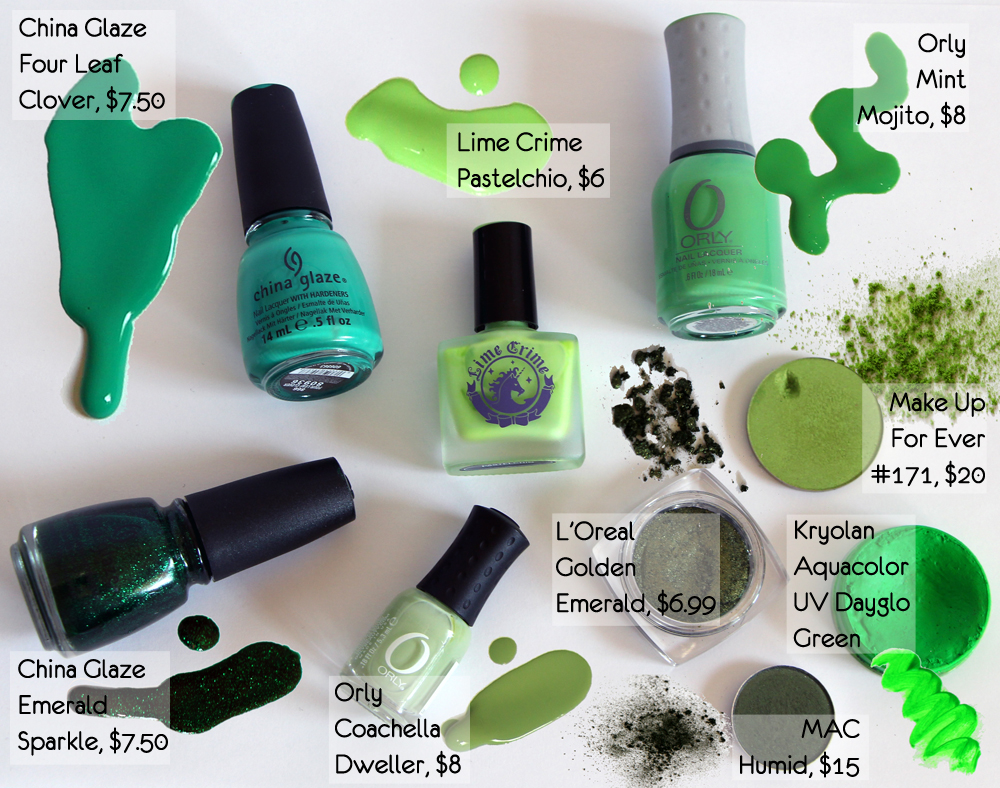Green Makeup For Saint Patrick's Day (China Glaze, ORLY, Make Up For Ever, Lime Crime, Kryolan, MAC, L'Oreal