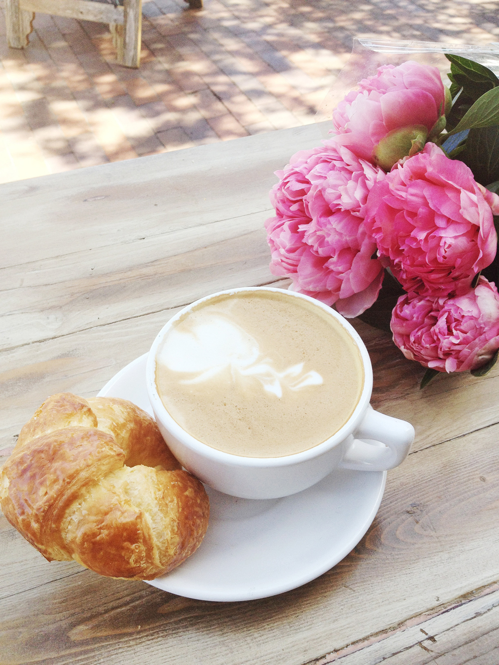 Pretty Pink Peonies Breakfast Latte and Croissant by Olivia Frescura