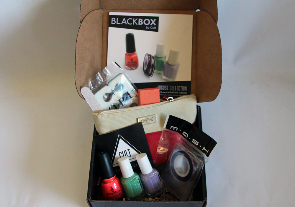 Blackbox by Cult Cosmetics August Nail Polish Box (China Glaze Surfin For Boys, Essie First Timer & Full Steam Ahead) MASH Nail Art Striping Tape