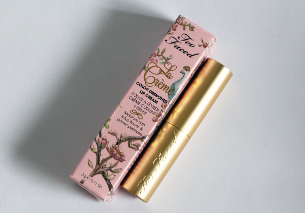 Too Faced Cosmetics La Creme Color Drenched Lip Cream Lipstick Cinnamon Kiss Review