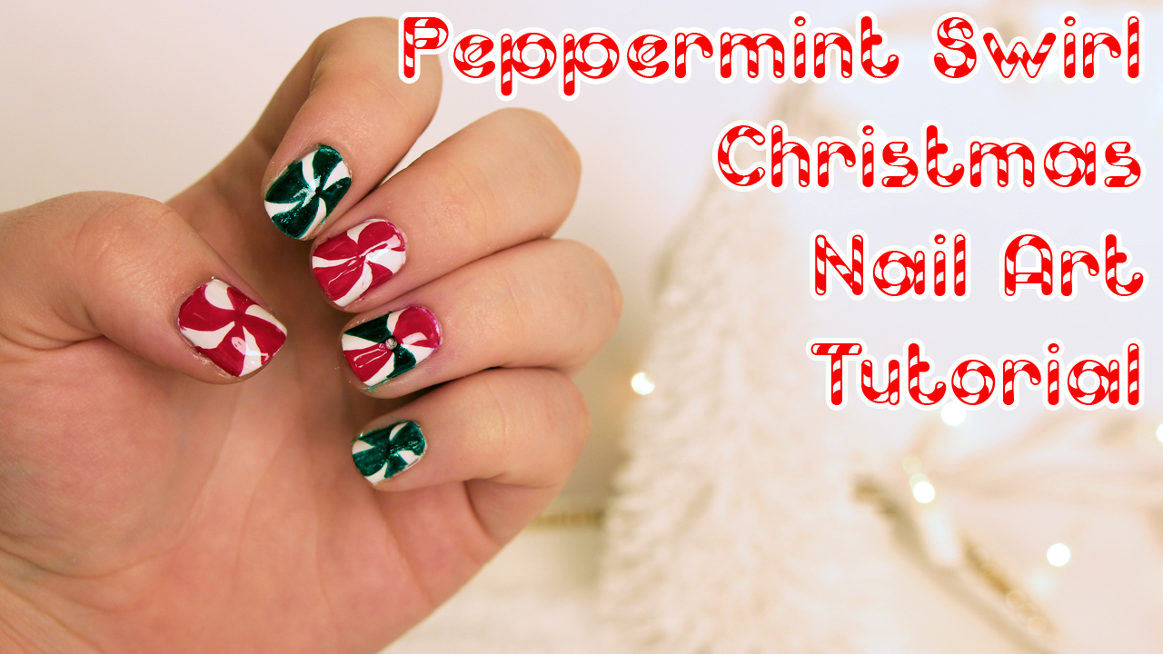 Easy Christmas Nail Art Peppermint Swirls Tutorial Video