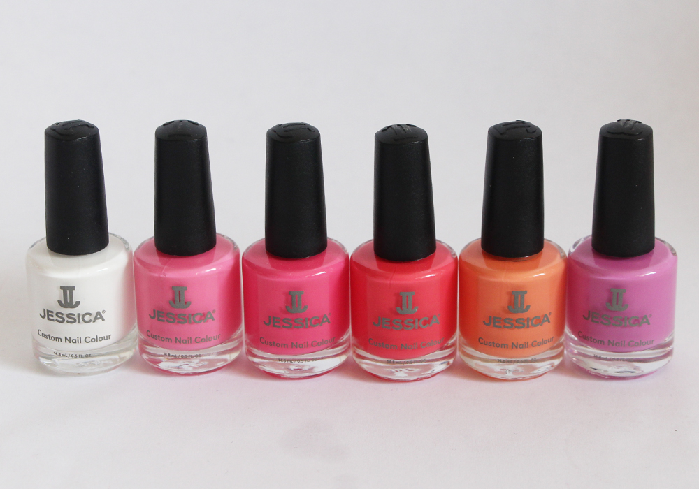 Jessica Cosmetics Coral Symphony Spring 2014 Nail Polish Collection Conch Shell, Monsoon Melon, Ocean Bloom, Sharktooth, Starfish Glow, Tropical Sunset Swatches Review