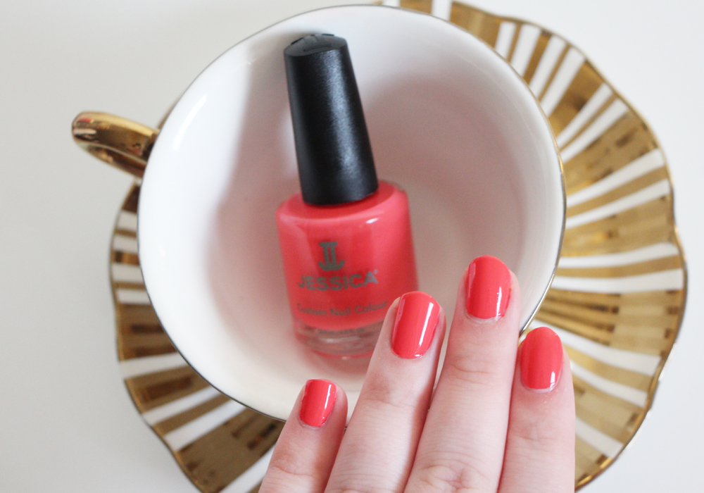 Jessica Cosmetics Coral Symphony Spring 2014 Nail Polish Collection Tropical Sunset Swatch Review