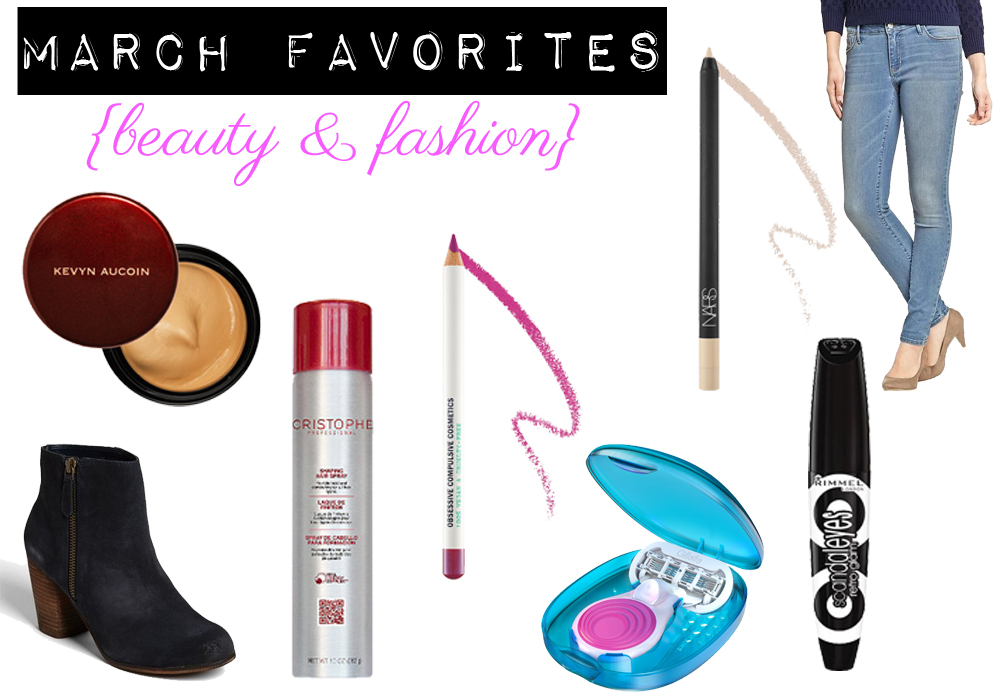 March Favorites Kevyn Aucoin Sensual Skin Enhancer Nordstrom BP Trolley Boots Cristophe Shaping Hair Spray OCC Hoochie Colour Pencil NARS Rue Bonaparte Rimmel Retro Glam Mascara Venus Snap Old Nav
