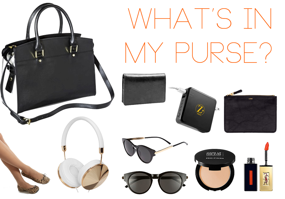 What's In My Purse- Target Tusk Zagg H&M Kushyfoot AJ Morgan Make Up For Ever Yves Saint Laurent
