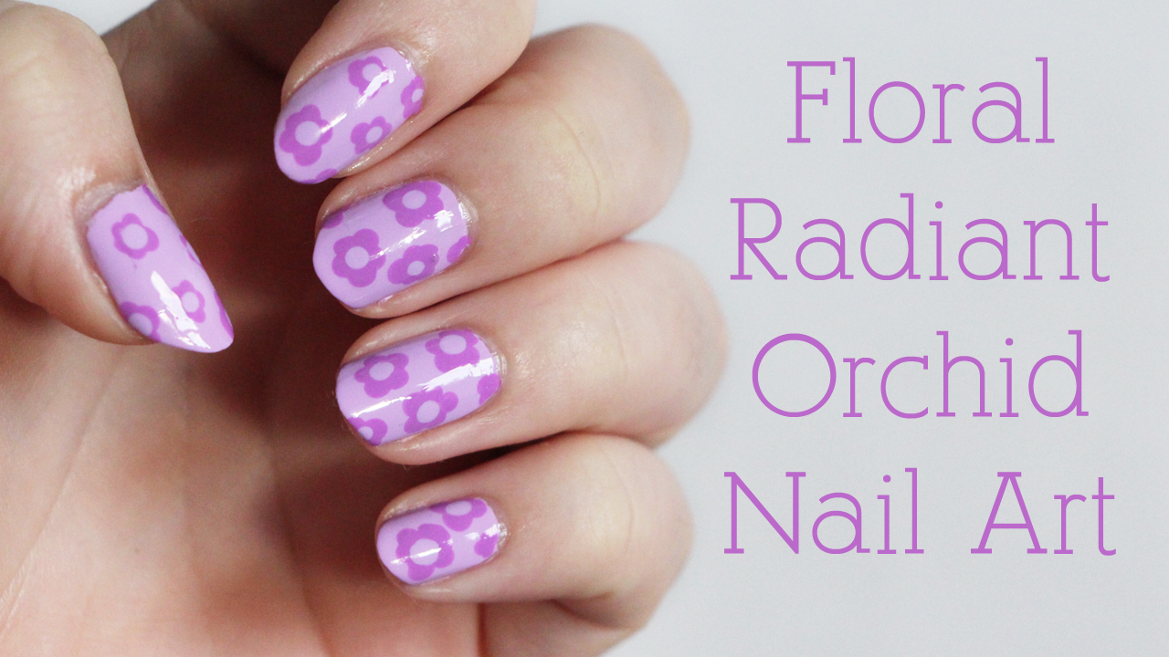 Floral Radiant Orchid Nail Art Tutorial Video Lime Crime Lavendairy China Glaze That's Shore Bright