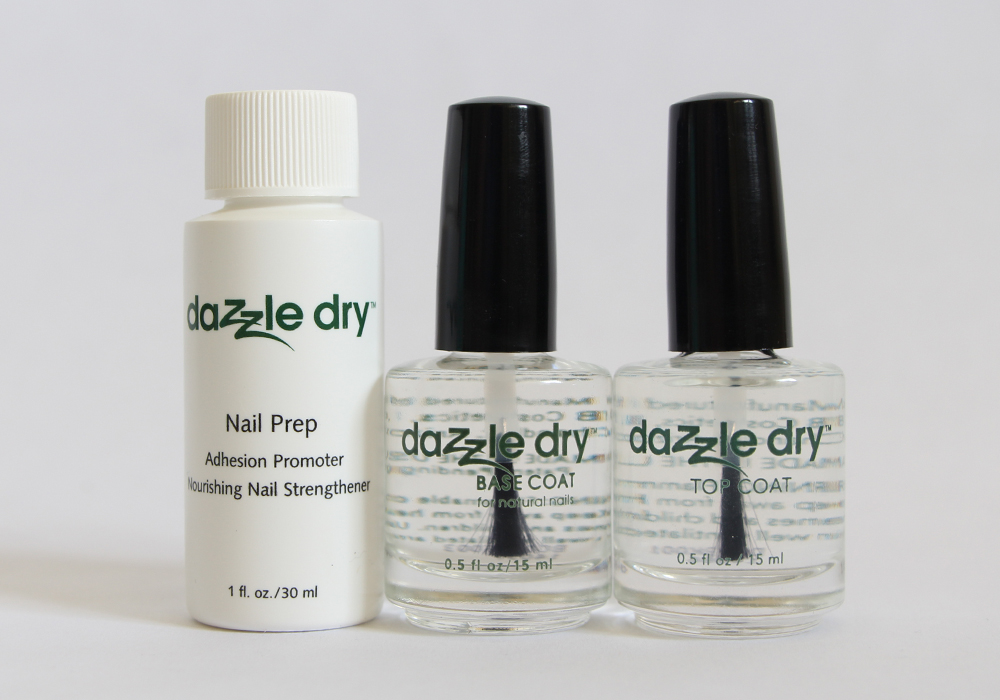 Dazzle Dry 3 Piece Nail Polish System Nail Prep Base Coat Top Coat Review