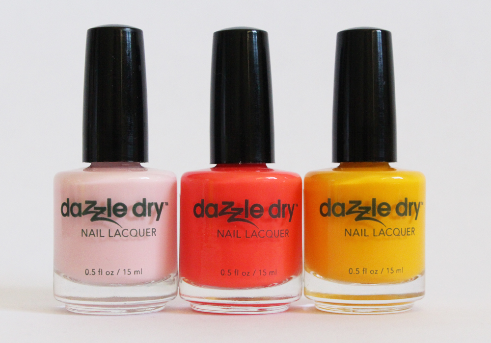 Dazzle Dry Nail Polish in Strawberry Macaron, Tutti Frutti Smoothie, I'm Beachy Review Swatch