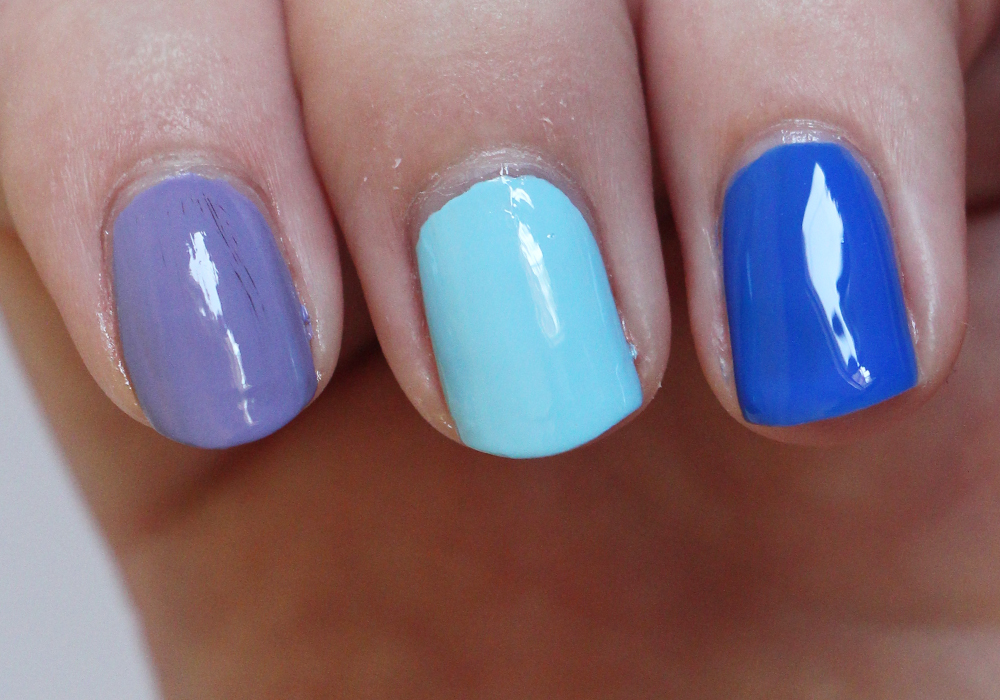 Dazzle Dry Nail Polish in Week in Provence, Lotion Please, Blueberry Sno Cone Review Swatch (2)