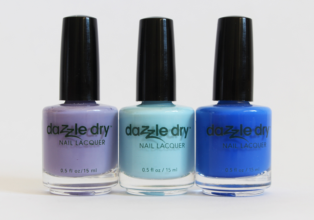 Dazzle Dry Nail Polish in Week in Provence, Lotion Please, Blueberry Sno Cone Review Swatch