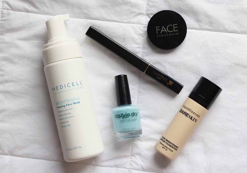 June Favorites Video Medicell Labs Brightening Foaming Face Wash Dazzle Dry Lotion Please Face Stockholm Brow Shadow Myrrah Lancome Definicils Mascara BareMinerals BareSkin Foundation Review