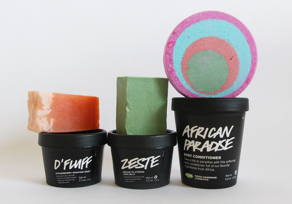 6 New LUSH Cosmetics Products July 2014 African Paradise Body Conditioner Zeste Hair Gelly Granny Takes A Dip Bath Bomb Mangnificient Soap Parsley Porridge Soap D'Fluff Strawberry Shaving Soap Review