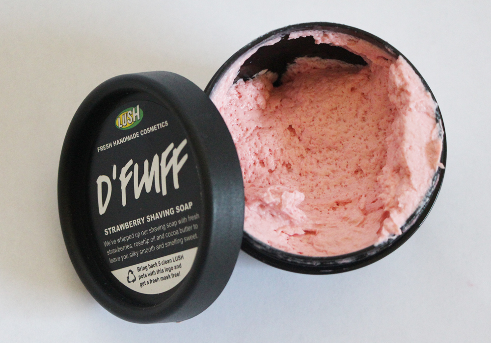LUSH Cosmetics D'Fluff Strawberry Shaving Soap Review