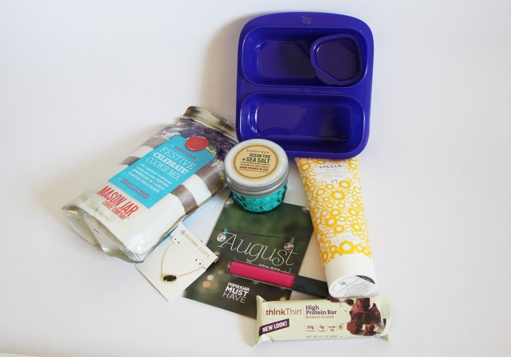 POPSUGAR Must Have Box August 2014 Unboxing Review Kendra Scott Jewelry Paddywax Candle Goodbyn Mason Jar Cookie Company Lollia Shower Gel Bite Beauty Lush Fruit Lip Gloss