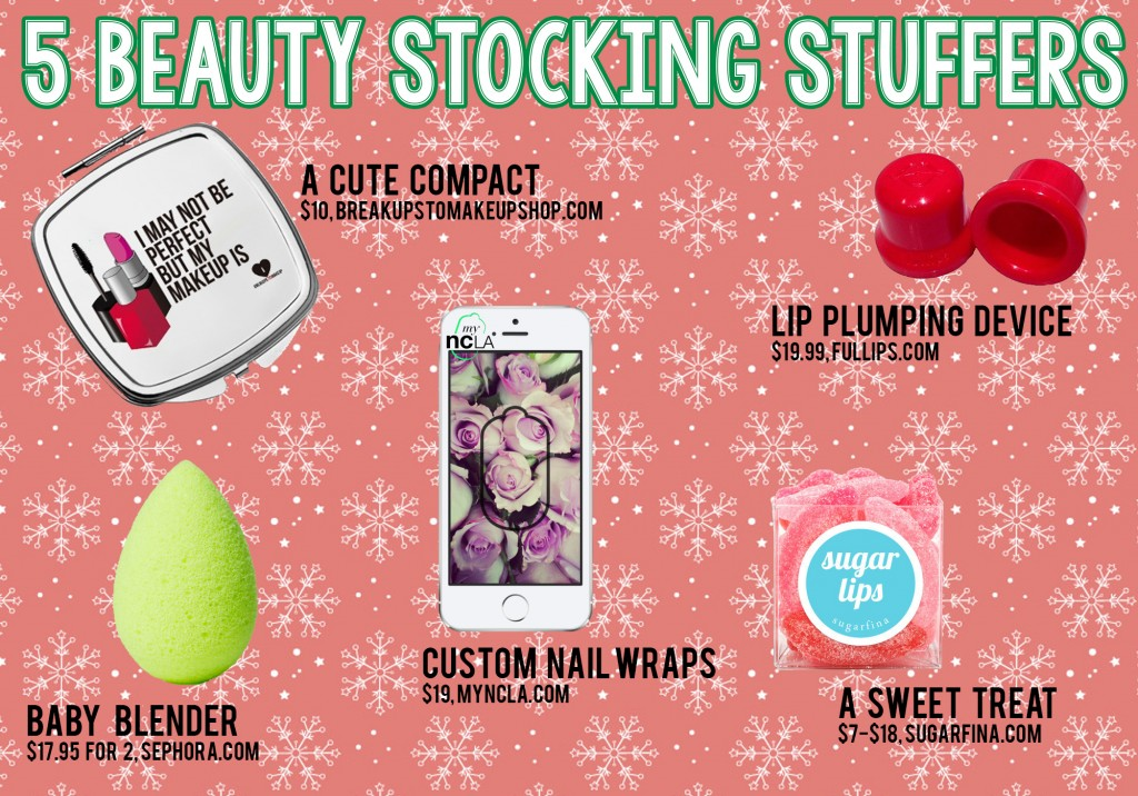 Holiday Stocking Stuffers Breakups To Makeup Compact, BeautyBlender Micro, MyNCLA Nail Wraps, Sugarfina Sugar Lips, FullLips Lip Plumping Device
