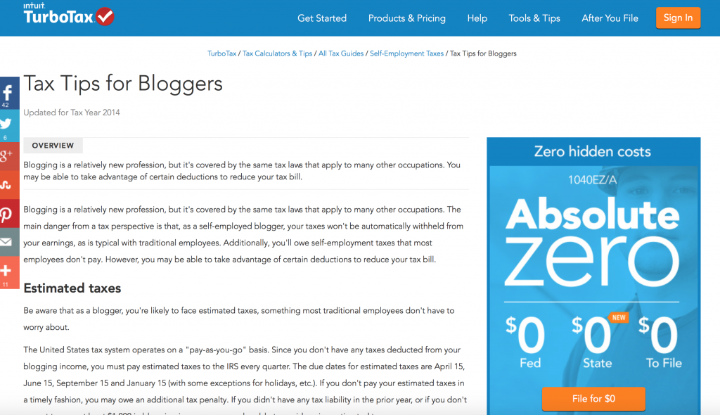 TurboTax Absolute Zero Blogger Tax Tips