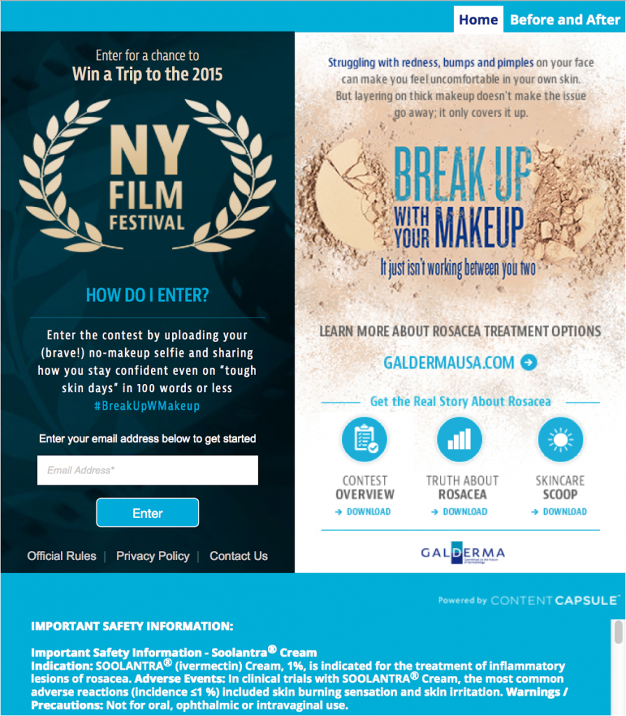 Galderma Break Up With Your Makeup Contest NY Film Festival