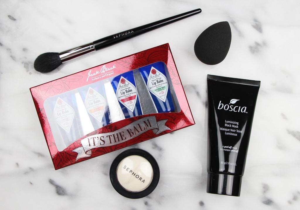 Sephora 2015 VIB Sale Haul Sephora Brush 79 Boscia Luminizing Black Mask Beauty Blender Pro Microsmooth Baked Luminizer in Stardust Jack Black It's The Balm Set