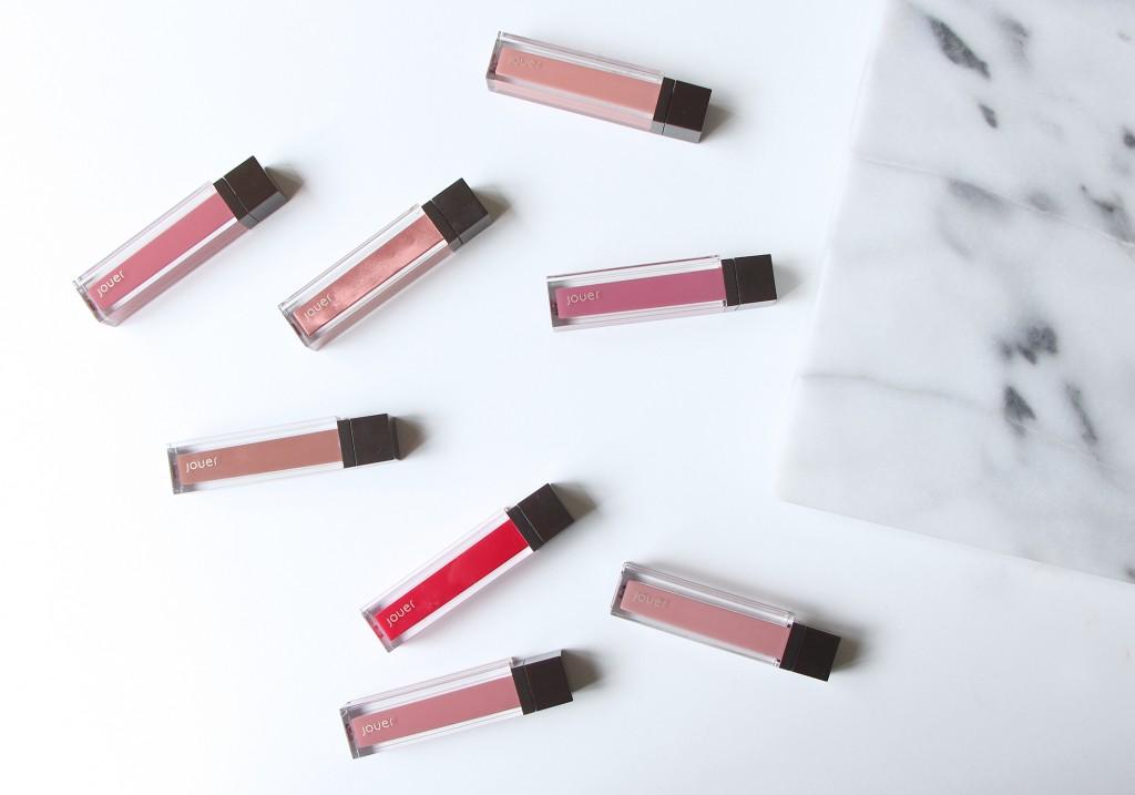 Jouer Cosmetics Long-Wear Lip Crème Liquid Lipstick Review Dulce de Leche Melon Lychee Cassis Petale De Rose Noisette Cerise Praline Swatches