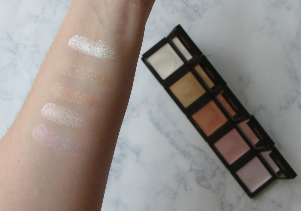 Jouer Mermaid Collection Glow Highlighter Palette Swatches Camellia Tiare Champagne Seashell Crystal
