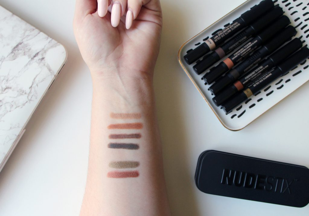 NUDESTIX Magnetic Matte Eye Pencil Terra Putty Slate Taupe Luminous Satin Queen Olive Copper Foil Review Tutorial Swatches