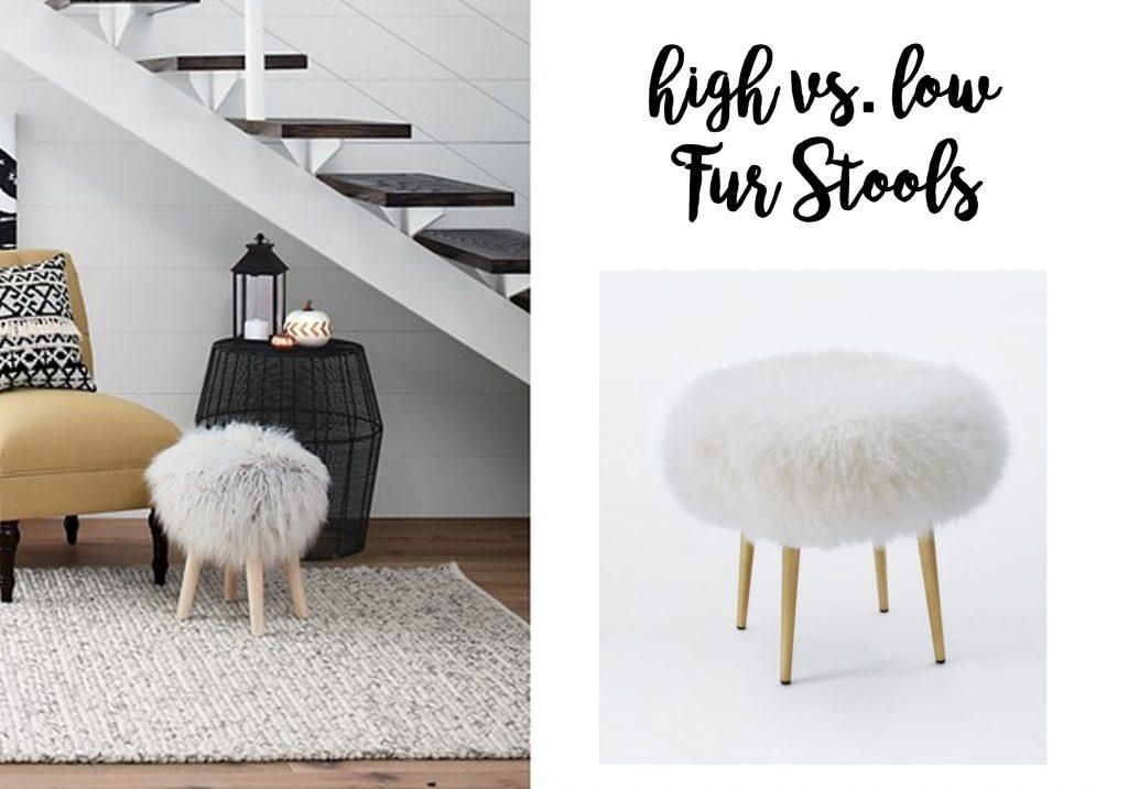 high-vs-low-end-fur-stools-home-decor-west-elm-target