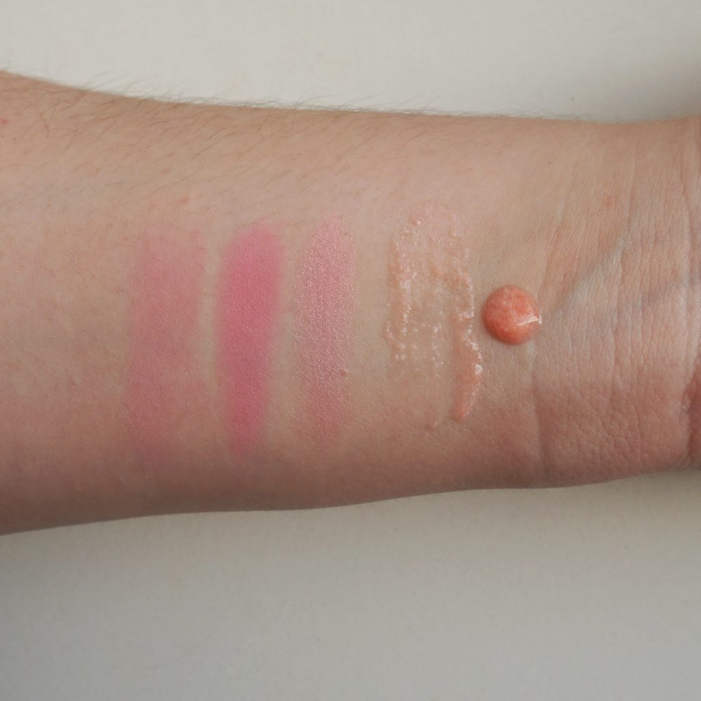 Paul & Joe Beaute Pearl Foundation Primer in Sweet Bon Bon Powder Blush in Mon Canard Swatches